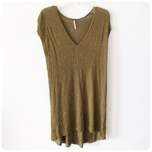 Free People olive greeen knit tunic XS